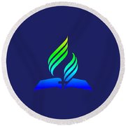 Rainbow 7th Day Adventist Symbol Round Beach Towel