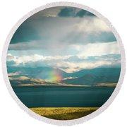 Rainbow Above Lake Manasarovar Kailash Yantra.lv Round Beach Towel