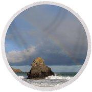 Rainbow Above Sango Bay Sea Stack Round Beach Towel