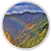 Rainbow Across Canyon Round Beach Towel