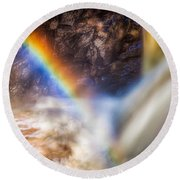 Rainbow And Falls Round Beach Towel