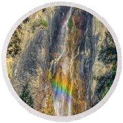 Rainbow At Bridal Veil Round Beach Towel