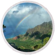Rainbow At Kalalau Valley Round Beach Towel