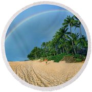 Rainbow At Pipeline, North Shore,  Round Beach Towel