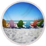 Rainbow Beach Vanilla Pop Round Beach Towel