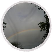 Rainbow Between The Trees Round Beach Towel