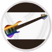Rainbow Big Neck Bass Guitar Round Beach Towel
