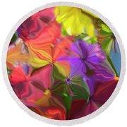 Rainbow Bouquet Round Beach Towel