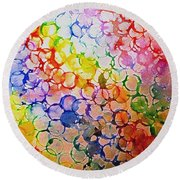 Rainbow Bubbles Round Beach Towel