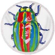 Rainbow Bug Round Beach Towel