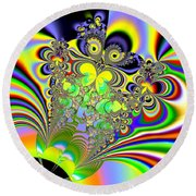 Rainbow Butterfly Bouquet Fractal Abstract Round Beach Towel