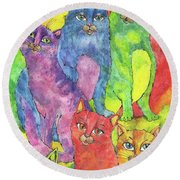 Rainbow Cats 2017 07 01 Round Beach Towel