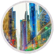 Rainbow Cityscape Round Beach Towel
