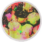 Rainbow Color Cupcakes Round Beach Towel