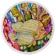 Rainbow-colored Sunfish Round Beach Towel