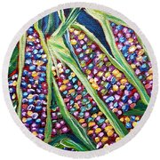 Rainbow Corn Round Beach Towel