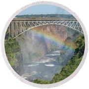 Rainbow Crossing Gorge Beneath Victoria Falls Bridge Round Beach Towel
