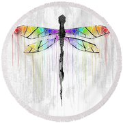 Abstract Dragonfly - White Rainbow Round Beach Towel