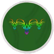 Rainbow Dragons Round Beach Towel