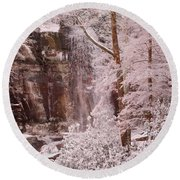 Rainbow Falls Smoky Mountain National Park -- Painted Photo. Round Beach Towel by Christopher Gaston