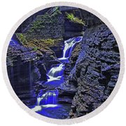 Rainbow Falls Watkins Glen State Park Round Beach Towel
