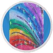 Rainbow Feathers Round Beach Towel
