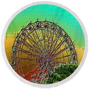 Rainbow Ferris Wheel Round Beach Towel