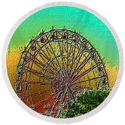 Rainbow Ferris Wheel Round Beach Towel