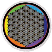 Rainbow Flower Of Life Wob Round Beach Towel