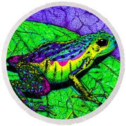 Rainbow Frog 2 Round Beach Towel