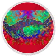 Rainbow Hammerhead Shark Round Beach Towel