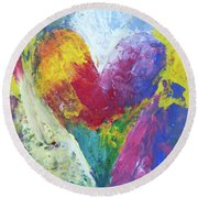 Rainbow Heart In The Cloud Acrylic Paintings Round Beach Towel