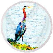 Rainbow Heron Round Beach Towel