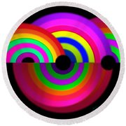 Rainbow In 3d Round Beach Towel
