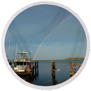 Rainbow In Apalachicola Fl Round Beach Towel
