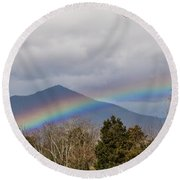 Rainbow In Front Of Sharp Top Round Beach Towel