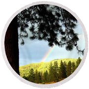 Rainbow In Pine Country Round Beach Towel