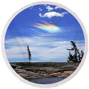 Rainbow In The Clouds Round Beach Towel