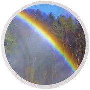 Rainbow In The Mist Round Beach Towel