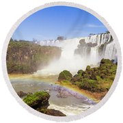 Rainbow In The Water Round Beach Towel