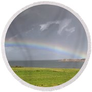 Rainbow, Island Of Iona, Scotland Round Beach Towel