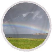 Rainbow, Island Of Iona, Scotland Round Beach Towel