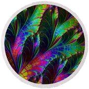 Rainbow Leaves Round Beach Towel
