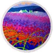 Rainbow Meadow Round Beach Towel by John  Nolan