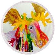 Rainbow Moose Head  - Abstract Round Beach Towel