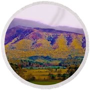 Rainbow Mountain Round Beach Towel by DigiArt Diaries by Vicky B Fuller