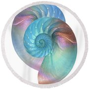 Rainbow Nautilus Pair On White Round Beach Towel