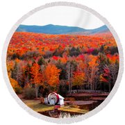 Rainbow Of Autumn Colors Round Beach Towel