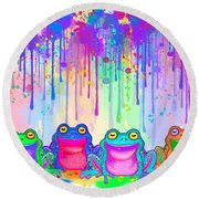 Rainbow Of Painted Frogs Round Beach Towel