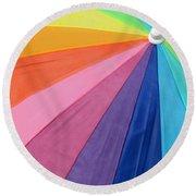 Rainbow On The Beach Round Beach Towel